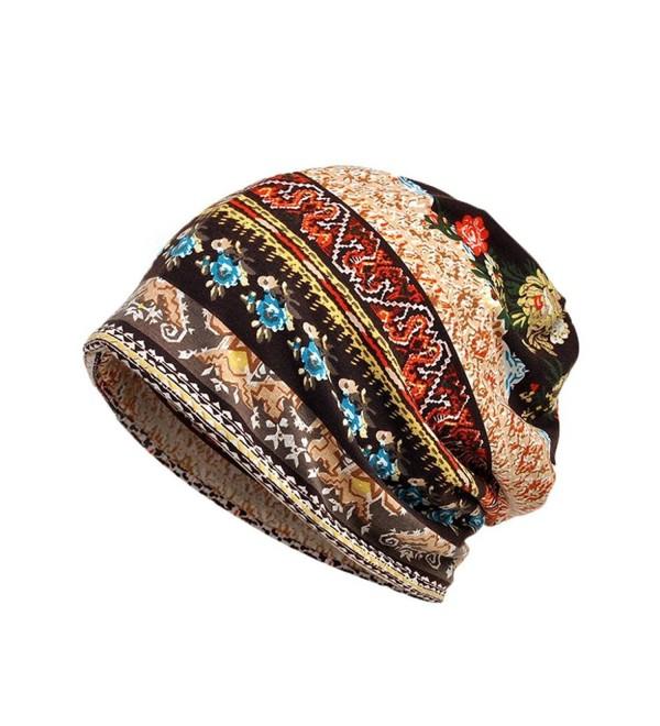 Staron Unisex Cotton Scarf Hat Ruffle Cancer Beanie Collar Turban Head Wrap Cap - Coffee - CE188YGSCES