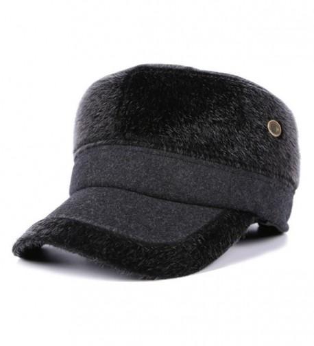 WETOO Men's Winter Woolen Tweed Peaked Baseball Cap Hats With Fold Earmuffs - Grey - C81890A25TH