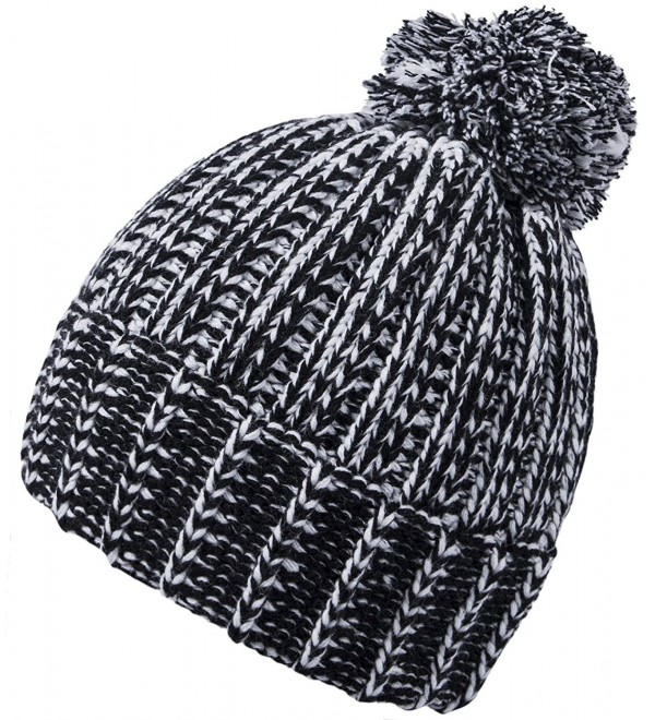 Chalier Womens Winter Baggy Cable Knit Slouchy Beanie Hats Pom Pom Hat - B-black - C7184RIU7QG