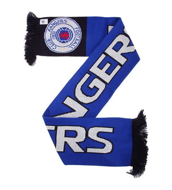Rangers FC Official Nero Knitted Football Crest Supporters Scarf - Blue/Black/White - CN12307FCZT