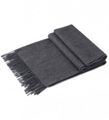 100% LAMBSWOOL PLAID SCARFS INFINITY WINTER DARK GREY CASHMERE FEEL LONG TARTAN SOLID COLOR WINTER - Dark Gray - CF189K7ARQ3