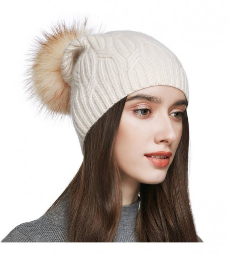 YINONIY Women's Slouchy Wool Knitted Pom Pom Beanie Cap Winter Crochet Cotton Hat - Off-White - CQ1876TOSZ6