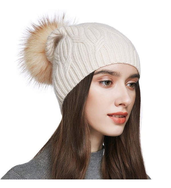 679c9bc5873 YINONIY Women s Slouchy Wool Knitted Pom Pom Beanie Cap Winter Crochet Cotton  Hat - Off-