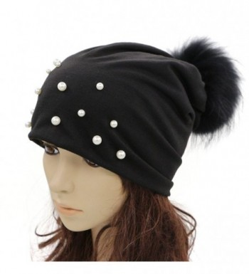 GZHILOVINGL Women Spring Hat- Sparkling Pearls Slouchy Real Pom Pom Beanie Cap - Black - CG188U5QGNU