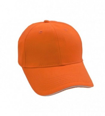 Low Profile Baseball Cap - Solid Color Shell Athletic Hat - Orange/White - CA11EDJFUYH