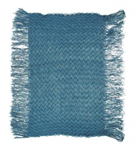 Metallic Zig Zag Lightweight Knit Loop Scarf - Teal - CK11NXEUOOT
