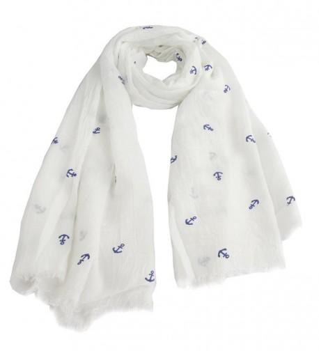 Leisureland Women's Viscose Fashion Scarf - Anchor White With Blue - CM128BGTEMB