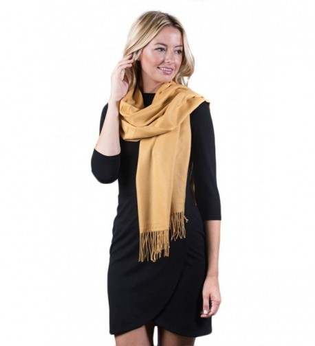 Fashmina Premium Solid Shawl Scarf - Ultra Soft- Beautiful Detailing- Cashmere touch - Golden Yellow - C1185XH49YC