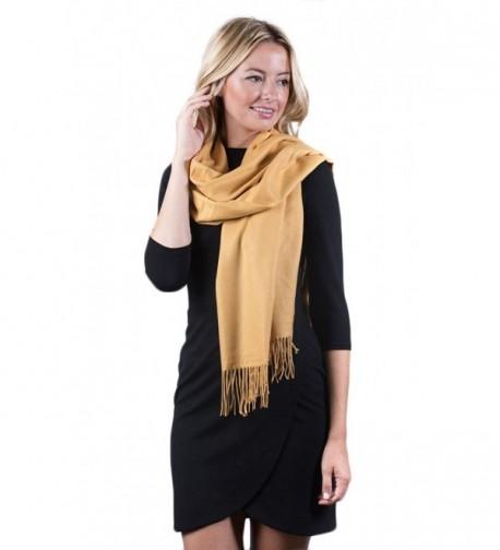 Fashmina Premium Solid Shawl Scarf - Ultra Soft- Beautiful Detailing- Cashmere touch - Golden Yellow - C1185XH49YC