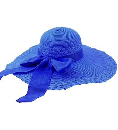 Tobey Women's Self Tie Bowk Wide Brim Summer Beach Straw Hat Cap Visor - Royal Blue - C011KLHC0U7