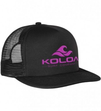 Koloa Surf Classic Mesh Back Trucker Hats in 12 Colors - Neon Pink Embroidered Logo on Black Hat - CH12EDPT95B