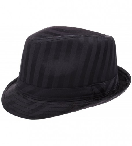 Enimay Vintage Unisex Fedora Hat Classic Timeless Light Weight - Regimental Black - C017Y26UT89