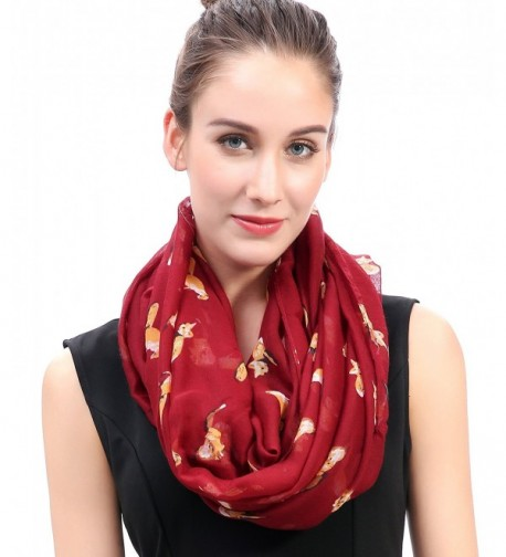 Lina & Lily Dark Red Fox Print Infinity Loop Scarf Light Weight - CT11P9AVSOT