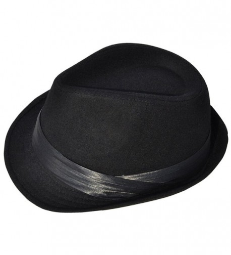 Livingston Men/Women's Pin Striped Short Brim Gangster Fedora Hat - Black2 - CJ1872KWXQ7