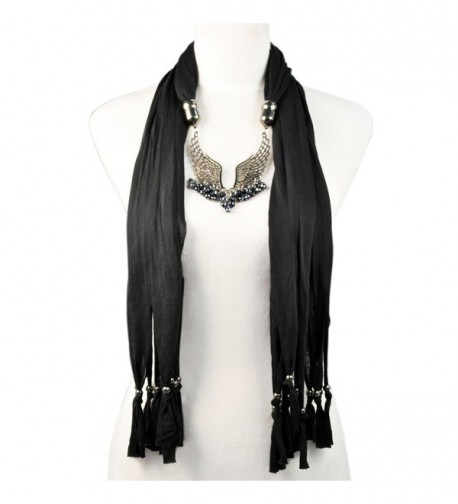 HUAN XUN Angle Wing Link Charm Jewelry Necklace Scarf - NL-1922 F Black - CC120NQAL3R