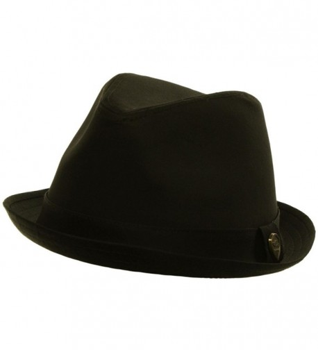 Men's Summer Cotton Upturn Brim Retro Lining Fedora Trilby Hat - Black - CT11DCLNDBT