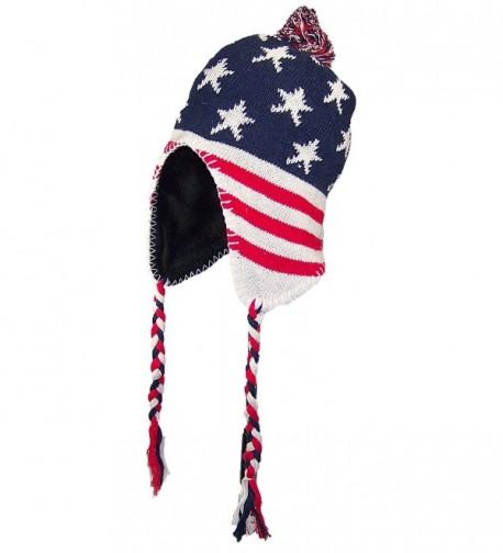 Best Winter Hats Adult Knit Ear Flap Hat W/Pom Pom (One Size) - American Flag - CS12NGDPDA6