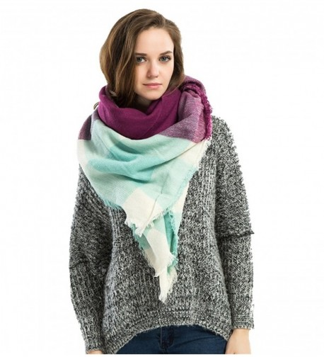 Genfien Women's Tassels Soft Plaid Tartan Scarf Winter Large Blanket Wrap Shawl - Pink Blue Purple - CA186YKOTIA