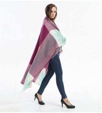 Genfien Tassels Blanket Oversized Checked in Fashion Scarves
