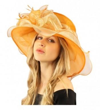Stylish 2 Tone Ruffle Feathers Derby Bucket Floppy Organza Dressy Hat - Orange - CW12DSJJWDR