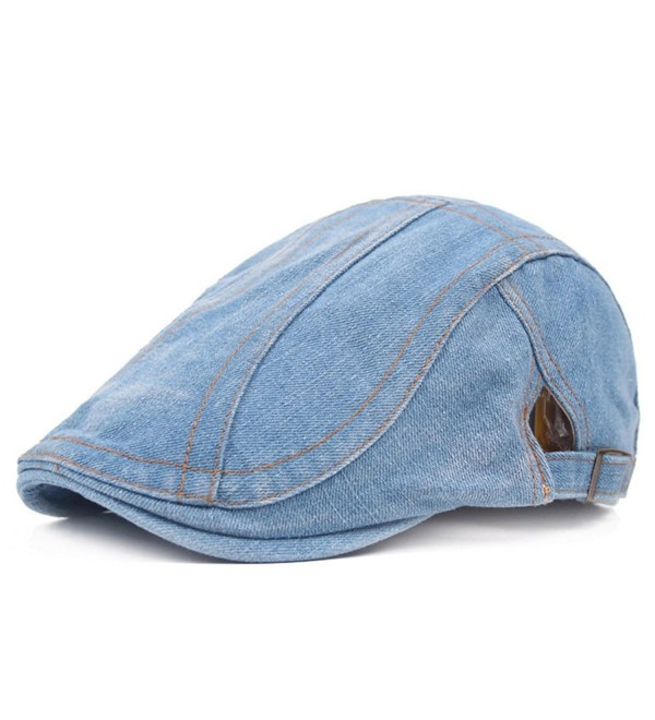 6b98efa3 WETOO Men's Denim Flat Cap Gatsby newsboy IVY Irish Hats Cabbie Driving Cap  - Denim Blue2