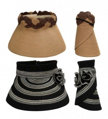 Bundle Monster BMC 2pc Roll Up Collapsible Visor Style Straw Hats- Braid + Floral Collection - Deep Camel + Black - CL17XWLCIS8
