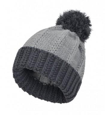 Janey&Rubbins Men's Knitted Beanie Pom Hat Winter Thick Crochet Cuff Skull Ski Cap - CX11RWXSNU9