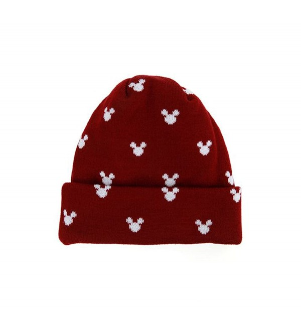 MACARON Unisex-Adult Mickey Beanie Mickey Skull Hat - Wine - CR1274ZTO1L
