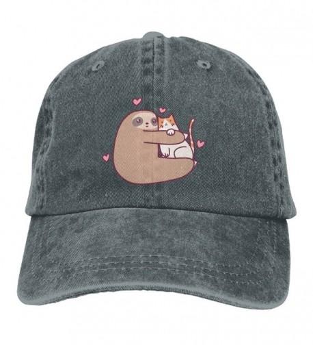 Sloth Loves Cat Unisex Denim Cowboy Personalized Vintage Hat - Asphalt - CK187N5LU2N
