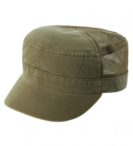 ENZYME WASHED TWILL ARMY CAP w/ MESH BACK - Olive - C9110JY89CZ