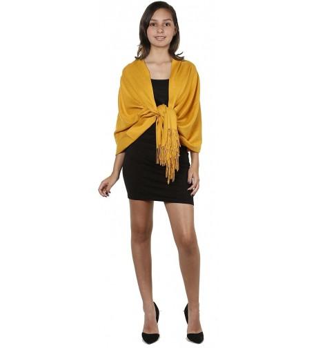 GILBINS Womens Cashmere Pashmina Mustard in Wraps & Pashminas