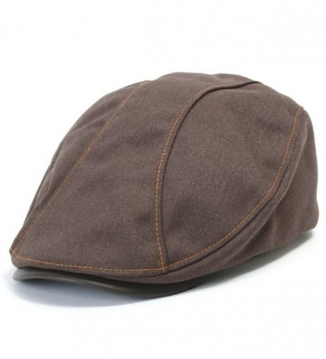 ililily Leather Bill Newsboy Flat Cap Cabbie Gatsby ivy Irish Driver Hunting - Brown - CL1109G2AZT