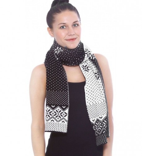 Women's Winter Thick Cable Knit Wrap Chunky Warm Crochet Snowflake Ski Scarf - Black - CY188WIS9QI