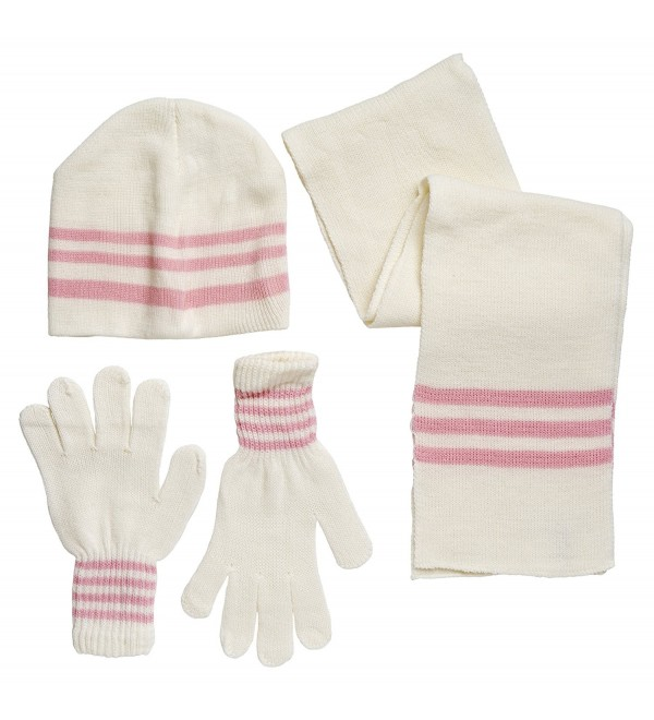 Winter Wear Women's Knit Striped Snowboard Beanie- Gloves- and Scarf Skiing Set - White - CF11S7OE897