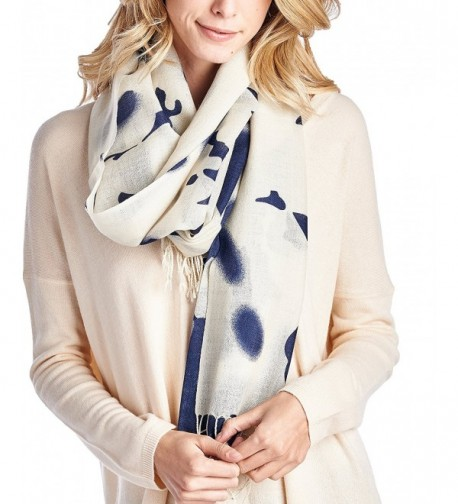 High Style 100% Merino Wool Printed Pashmina Scarf Shawls (Various Colors and Designs) - White Navy - CV126Y3S7WB
