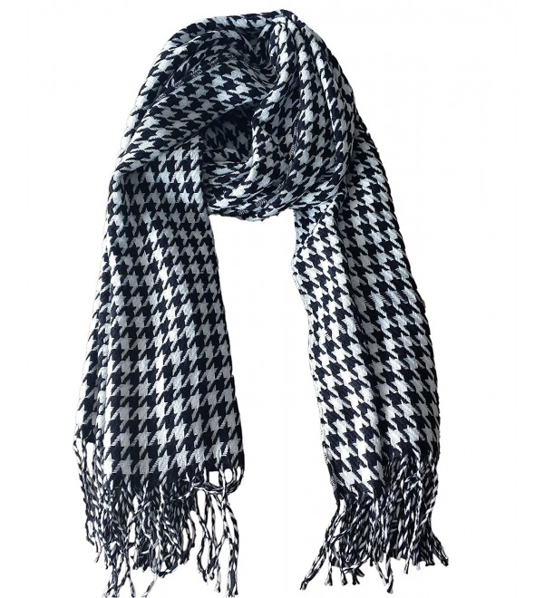 Stripped Tessel Women Men Winter Scarf Warm Wool-like Shawl - White-Black - CM18764IIC3