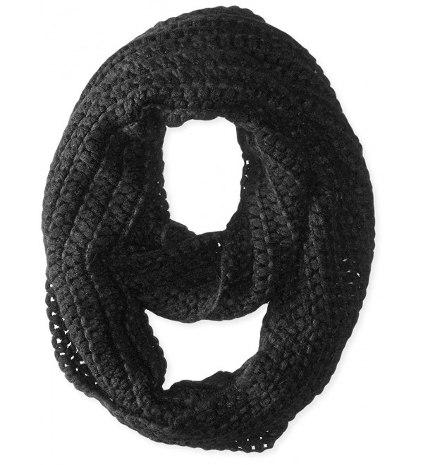 D&Y Women's Dots Weaving Solid Knit Loop Infinity Scarf - Black - CJ11WD3X213