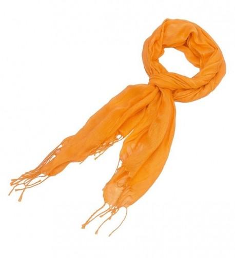 Purple Box Jewelry Solid Color Soft Weave Scarf - Orange - CY11JJWGJJN