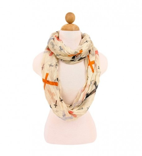 Premium Cross Design Infinity Loop Fashion Scarf - Different Colors Available - Multi Color Beige - C611HMN76MZ