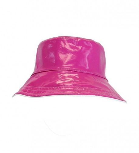Patent Polka Dot Reversible Waterproof Bucket Rain Hat- Foldable - One Size - Pink - CF1238VLMAZ