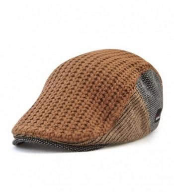 Vinchou Knitted newsboy IVY Hat Wool Thicken Warm duckbill Peaked Cap Men The Elderly - Coffee - C5186LNLO03