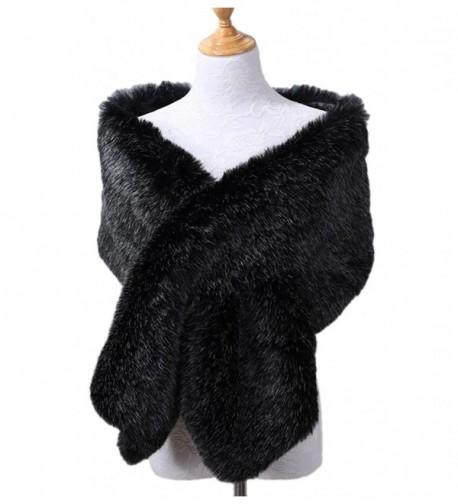 Xoemir 2017 Women Evening Fox Fur Bridal Cape Wedding Shawl Stole Winter Scarves - Style2 Black/White-2 - C8188QHHSGU