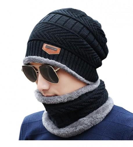JOYEBUY Men's Soft Beanie Hat Scarf Set Knit Hat Warm Thick Winter Hat - Black - C9186HLR57D