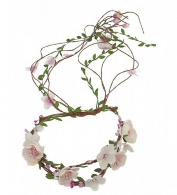 Merroyal Bridal Flower Berries Floral Crown for Wedding Festivals - Pink - CL12NBY6QLL