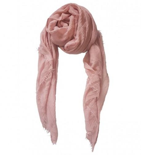 SoLine Solid Color Tassels Scarves Shawl Blanket Warp lightweight Large Scarf - Ta_pink - C21879E5I2X