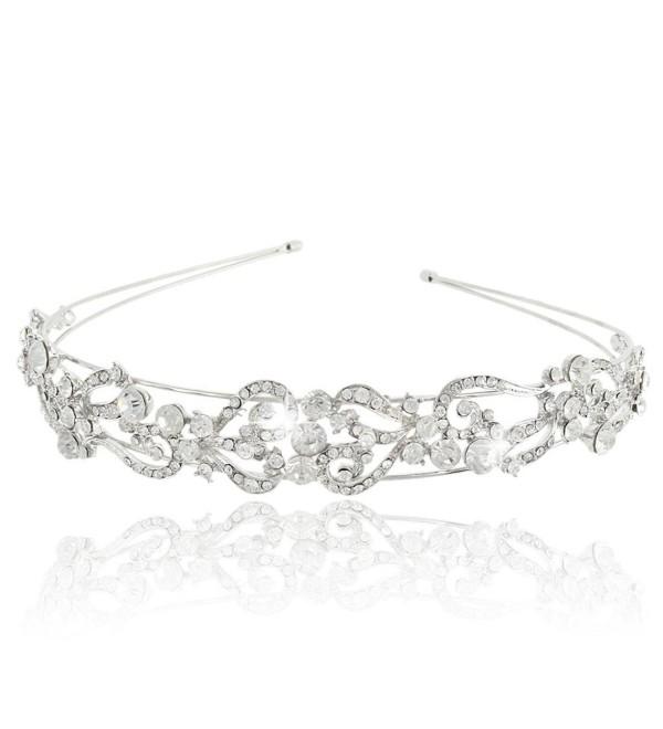 EVER FAITH Austrian Crystal Wedding Flower Wave Love Heart Headband Clear Silver-Tone - CI11MYTLULP