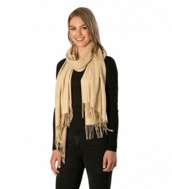 Momo Fashion Women's Cashmere Feel Oblong Fringe Scarf in Solid Colors - 7211-beige - CT18687X8MZ
