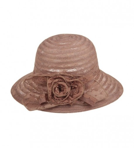 Dantiya Summer Lace Beach Sun Hat Kentucky Derby Church Dress Bucket Hat - Brown - CO1850IS6KE