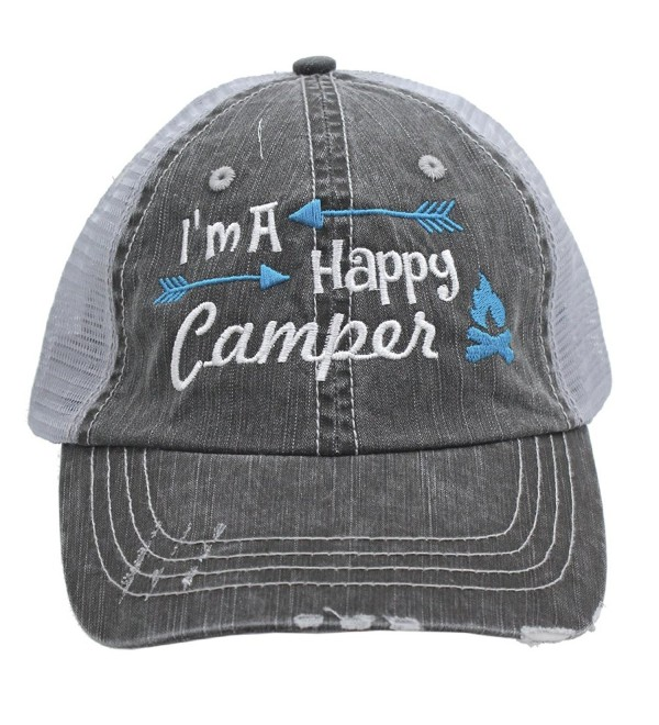 Turquoise I'm am A Happy Camper Women Embroidered Trucker Style Cap Hat Rocks any Outfit - CY182200D59