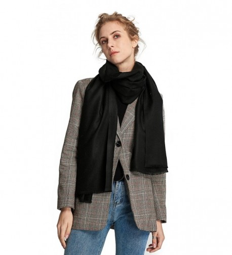 RIONA Women's Soild Basolan Silk Wool Scarf - Soft Lightweight Neckwear for Spring & Fall - 173701_black - C0188IXXN77